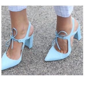 Zara Sky Blue High Heel Leather Court Shoe W/ Bow
